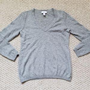 Loft gray cashmere v neck fuzzy sweater